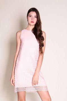 Cut-out Crochet Shift Dress (Pink)  $39