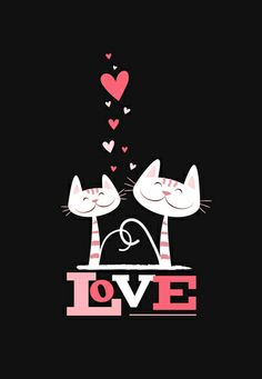 2 Cats in Love Art Print by Lisa Marie Robinson