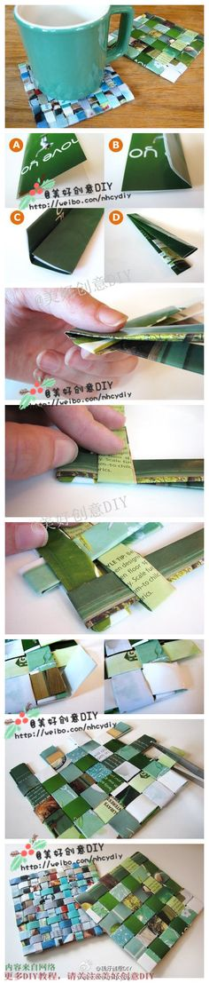 DIY Magazine Paper Coaster is part of Recycled crafts Newspaper - A magazine that you are not using anymore can be used to really Recycled Paper Crafts, Recycled Magazines, Newspaper Crafts, Diy And Crafts, Origami, Magazine Crafts, Paper Weaving, Diy Papier, Crafty Craft