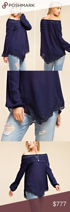 COMING SOON! Like to be notified when it arrives! Navy off the Shoulder Top.  Will retail for $42. Will have 2 small 2 medium and 2 large. True to size. Currently only available in my VIP group. LIKE TO BE NOTIFIED WHEN ITS AVAILABLE! Tops Blouses