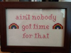 Handmade Cross Stitch! Comes in a 5 x 7 wooden frame, with a back that can be propped up or hung on the wall. Buy one as a gift for anyone