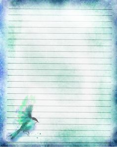Printable Journal Page Blue Songbird Lined by JournalExpress