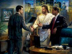 The Senior Partner by Nathan Greene - 4 Options Available God and Jesus Christ Lds Memes, Lds Quotes, Jesus Painting, Jesus Christus, Religious Paintings, Jesus Pictures, Verse, God Jesus, Bible Art