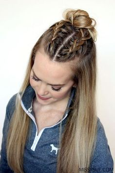 Braided double Dutch crown, over beach waves, not straight