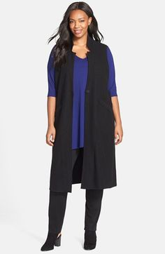 Eileen Fisher Notch Collar Merino Long Knit Vest (Plus Size) available at #Nordstrom