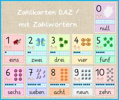 Frau Locke: Zahlkarten DAZ / mit Zahlwörtern