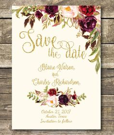 Printable Save the Date DIY Floral Watercolor Wedding Gold Cream Wedding, Wedding Gold, Rustic Wedding, Wedding Day, October Wedding, Wedding Bells, Watercolor Wedding, Floral Watercolor, Floral Save The Dates