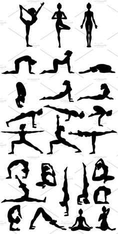 26 Yoga poses. Silhouettes. Part 1