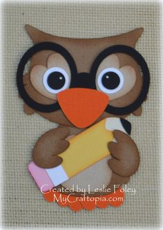 Owl with pencil Premade Scrapbooking Embellishment by MyCraftopia, $4.95