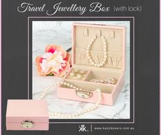 Travel Jewellery Box (with lock) | This compact and stylish pink jewellery box is custom made and is designed to keep your valuables safe and secure during your travels or for storage purposes.  Ideal for your rings, necklaces, earrings, bracelets, watches, costume jewellery and more.  Perfect for overnight/weekend trips and holidays. For the bride on her wedding day or a personal bridesmaids gift. For a special friend or family member. Available in Pink (displayed), Black, Blue or Mauve.