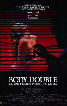Body Double. The film is an homage to Alfred Hitchcock's Vertigo, Rear Window, and Dial M for Murder.