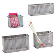 Silver Magnetic Mesh Bins   The Container Store - we use these on the side of our refrigerator for holding spices, garlic, coffee pods