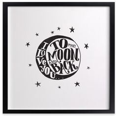 To the Moon and Back custom art print in different colors