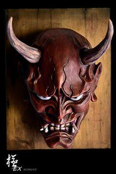 Hannya mask red by pochishen on DeviantArt Aletheia's samurai mask, section below the eyes. Hannya Samurai, Samurai Tattoo, Samurai Art, Japanese Hannya Mask, Japanese Demon Mask, Japanese Demon Tattoo, Hannya Maske Tattoo, Oni Mask Tattoo, Helmet Tattoo