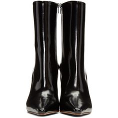 Vetements Black and Silver Reflector Heel Boots (€1.670) ❤ liked on Polyvore featuring shoes and boots