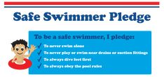 Take The Pledge Today! Pool Rules, Swim School, Water Safety, Safety Tips, Number One, British, Swimming, Swimming Pool Rules, Swim