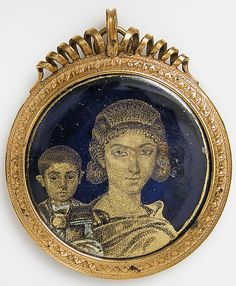 Gold Glass Medallion with a Mother and Child  Date: early 4th century Geography: Made in, probably Alexandria, Egypt Culture: Roman Medium: Glass, gold leaf