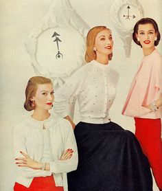 Models Mary Jane Russell, Evelyn Tripp and Barbara Mullen all sporting charming DuPont Orlon cardigan sweaters, 1955.
