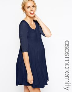 77ba56d4d43bf ASOS Maternity Swing Dress with Tier Baby Bump Style, Mommy Style, Asos  Maternity,