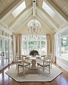 The arched ceilings in this room are amazing!  I love the skylights and the dining space.  #ChooseDreams #ad