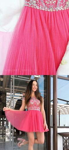 Elegant Short Watermeloon Homecoming Dress with Beaded from modseleystore Best Prom Dresses, Sweet 16 Dresses, Dance Dresses, Homecoming Dresses, Pretty Dresses, Beautiful Dresses, Graduation Dresses, Formal Dresses, One Step