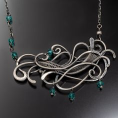 Teal Quartz Necklace Fine Silver Assymetrical by sarahndippity