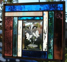 Stained Glass Panel beveled glass window butterflies READY TO SHIP