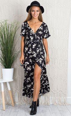 Showpo Darkest Day maxi dress in black and white floral - 10 (M) Maxi