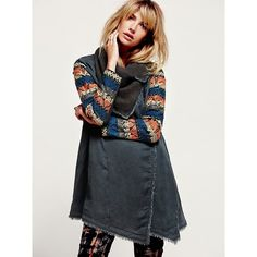 Free People Embroidered Sleeve Tencel Coat ($200) ❤ liked on Polyvore featuring outerwear, coats, oversized collar coat, drape collar coat, collar coat, blue coat and leather-sleeve coats