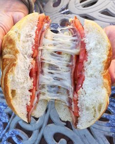 The #JerseyBreakfast. Whether you call it #TaylorHam (north) or #PorkRoll (south) this is NJ's most iconic #BreakfastSandwich. Taylor ham is a smoked cured processed pork similar to salami but sweeter. It's grilled and served w/ fried egg and cheese on a hard roll. The popular Italian deli @bakin_bagels_lavallette in #OrtleyBeach serves up some of the best on the #JerseyShore.