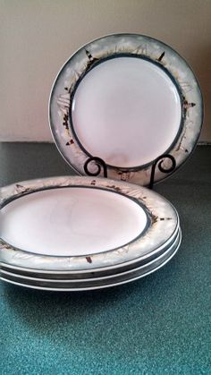 David Carter Brown For Sakura Set of 4 By The Sea Dinner Plates Dish Retired Dinnerware $31.99