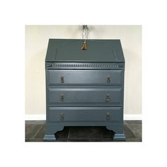 Antique writing bureau hand painted in Farrow and Ball Downpipe Vintage Desks, Writing Bureau, Off Black, Table Desk, Upcycled Furniture, Dresser, Tables, Hand Painted, Antiques