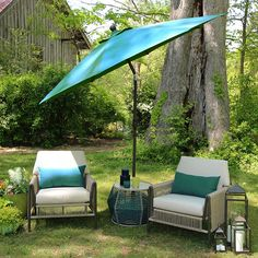Two people can enjoy an afternoon in the yard in comfort thanks to this conversation set.