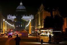 Vatican, a special public art installation timed to coincide with the climate negotiations in Paris of Dec'15 (Light show by Obscura Digital on the facade of St Peter's Basilica)