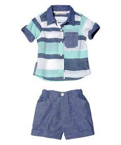 Look at this #zulilyfind! Blue & White Stripe Button-Up & Shorts - Infant #zulilyfinds