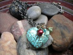 Pantina heart necklace. Also comes in purple! Find this and more on victorygarden41@etsy.com