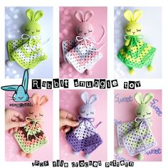 Amigurumi rabbit crochet pattern- baby security blanket, snuggle toy, baby lovey, pregnancy gift, baby shower gift. https://www.etsy.com/listing/228121594/crochet-amigurumi-baby-security-blanket