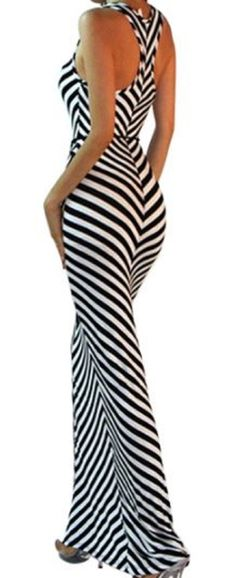 the Slimming Stripes! Love the Racerback Design! Sexy Black and White Scoop Neck Stripe Sleeveless