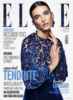 Marie Meyer featured on the Elle Romania cover from February 2016
