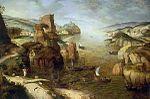 Le Christ et les apôtres au lac de Tibériade, 1553, huile sur bois, 67+100 cm signature: P.BRVEGHEL/1553 en bas à gauche. - Pieter Bruegel , à la différence de Gérôme Bosch, est sensible à l'influence des paysages anversois de son époque, et témoigne d'un profond intérêt pour la réalité quotidienne de son pays. Le Dénombrement de Bethléem (Bruxelles, 1566, musée des Beaux-arts) et le Massacre des Innocents (Vienne, 1563) symbolisent les malheurs des Flandres opprimées par l'Espagne.