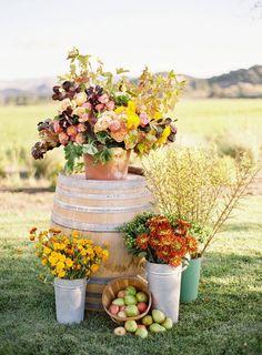 fall themed flowers for outside chapel or entrance of reception / http://www.deerpearlflowers.com/fruit-wedding-ideas/
