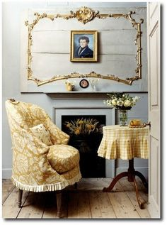 slipcovered chair and table