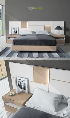 Ideas bedroom bed design comforter for 2019 Bed Headboard Design, Bedroom Furniture Design, Master Bedroom Design, Bed Furniture, Home Bedroom, Trendy Bedroom, Modern Bedroom, Double Bed Designs, Apartment Interior