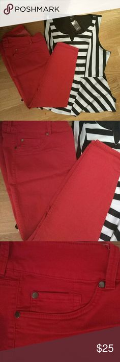Red skinnies Length- regular. Cotton, rayon, spandex & polyester mixed bright red skinnies. Worn & washed only once. Very cute! torrid Pants Skinny