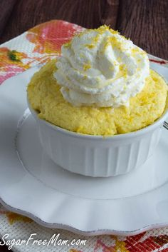 Sugar-Free Lemon Mug Cake Low in carb, no sugar added, and less than 200 calories!