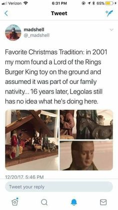 Legolas has been appearing in this Nativity scene for 16 years and still has no idea what he's doing there.