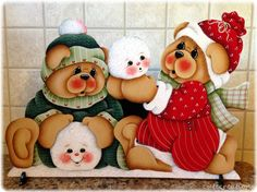 HP TEDDY BEARS with Snowballs SHELF SITTER