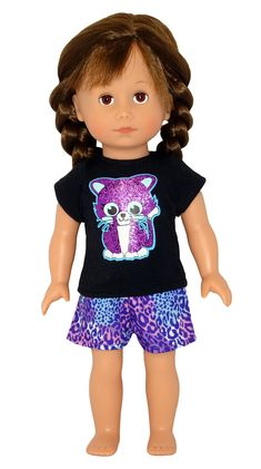 Pussy cats are so cute and with the added sparkle this kitty tee and shorts set is irresistible! Suitable for Disney Toddler, Wellie Wishers, Les Cherie, Gotz Just Like Me and other similar sized dolls. Boy Doll, Girl Doll Clothes, Girl Dolls, American Girl Wellie Wishers, Wellie Wishers Dolls, Baby Alive, Cabbage Patch Kids, Doll Shoes, Doll Furniture