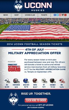 University of Connecticut - 4th of July   Military Appreciation Offer