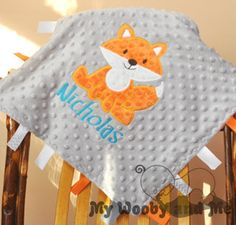 Personalized Baby Blanket Ribbon Tag Blanket by MyWoobyandMe